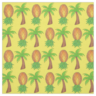 Hawaii Tropical Island Palm Trees Pineapples Fruit Fabric