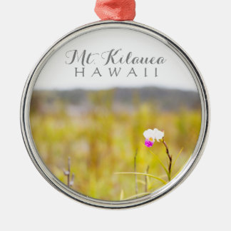 Hawaii Tropical Orchid Volcanoes National Park Silver-Colored Round Decoration
