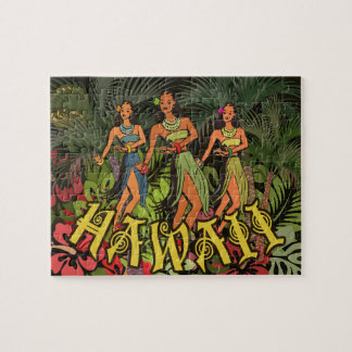 Hawaii Tropical Retro Vintage Artwork Print Puzzle