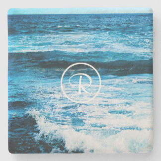 Hawaii turquoise ocean waves photo custom monogram stone coaster