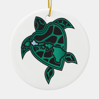 Hawaii Turtle and Hawaii Islands Ceramic Ornament