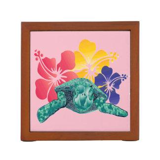 Hawaii Turtle and Hibiscus Flowers Desk Organiser