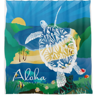 Hawaii Turtle and Ocean 9 Shower Curtain