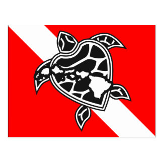 Hawaii Turtle Dive Flag Postcards
