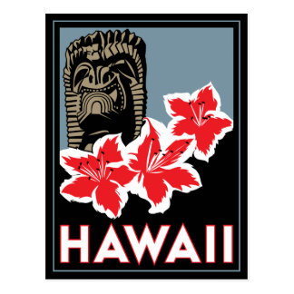 hawaii united states usa art deco retro travel postcard