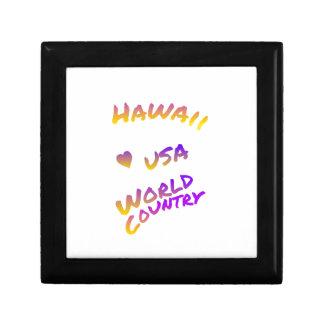 Hawaii usa world country, colorful text art gift box