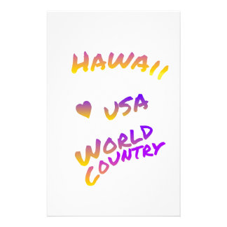Hawaii usa world country, colorful text art stationery