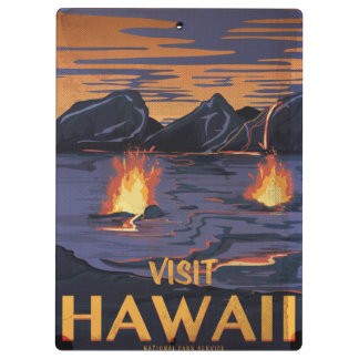 Hawaii Vintage Travel poster Clipboard