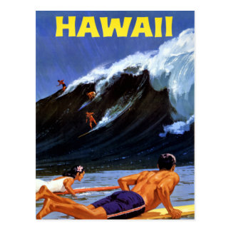 Hawaii Vintage Travel Poster Restored Postcard