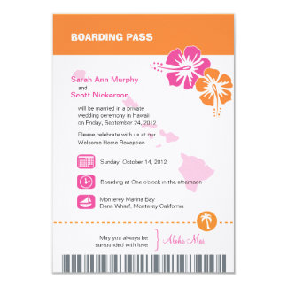 Hawaii Wedding Boarding Pass 9 Cm X 13 Cm Invitation Card
