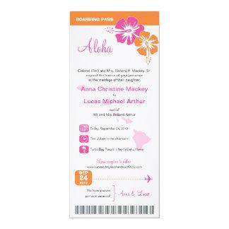 Hawaii Wedding Boarding Pass Card