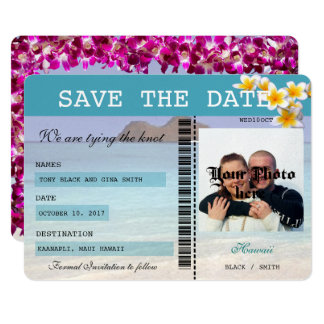 Hawaii Wedding  Boarding Pass Save the Date Card