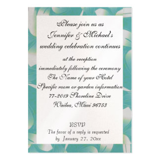 Hawaii Wedding Reception Enclosure Turquoise Flora Pack Of Chubby Business Cards