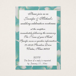 Hawaii Wedding Reception Enclosure Turquoise Flora Business Card