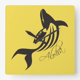 Hawaii Whale Square Wall Clock
