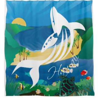 Hawaii Whales and Ocean Shower Curtain