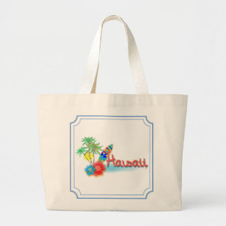 Hawaii with Palms, Flowers and Surfboard Large Tote Bag