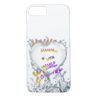 Hawaii world city, Water splash heart iPhone 8/7 Case