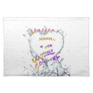 Hawaii world city, Water splash heart Placemat