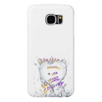 Hawaii world city, Water splash heart Samsung Galaxy S6 Cases