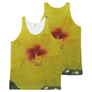 Hawaii Yellow Hibiscus Flower All-Over Print Singlet