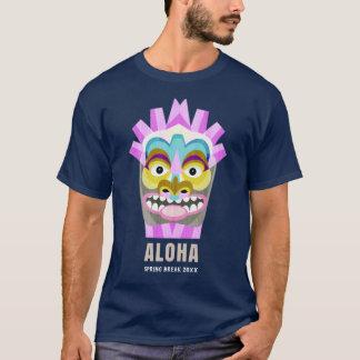 Hawaiia Aloha Tiki Spring Break Custom Text T-Shirt