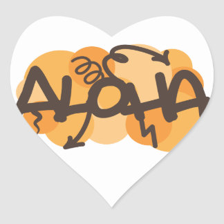 HAwaiian - Aloha graffiti style Heart Sticker