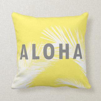 Hawaiian Aloha Grey Typography Palm Trees  Yellow Cushion