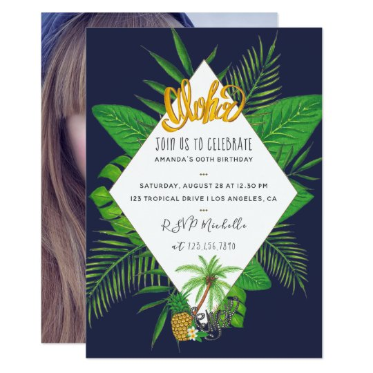 Hawaiian Aloha Luau Birthday Party add photo Card