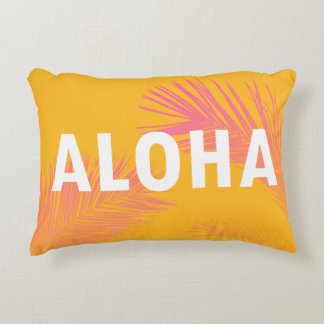 Hawaiian Aloha Typography Palm Leaves Modern Decorative Cushion
