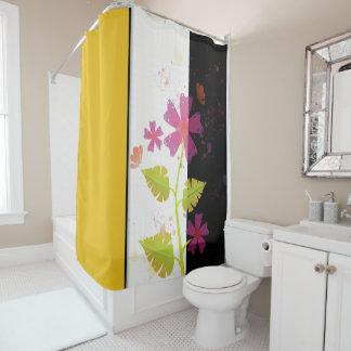 Hawaiian Beauty Yellow White Black Shower Curtain