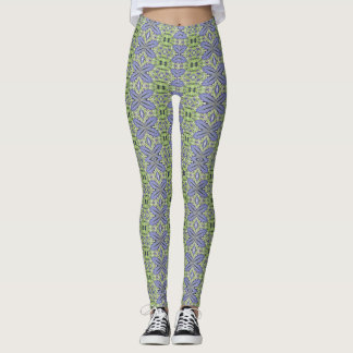 Hawaiian blue ginger leggings