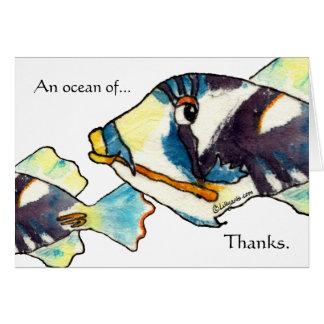 Hawaiian Cartoon Fish Thank You Cards