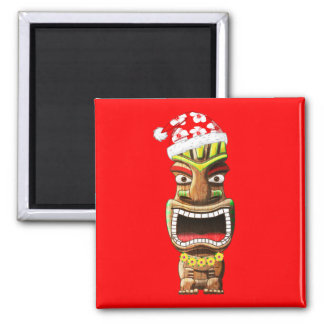 Hawaiian Christmas Santa Tiki Magnet