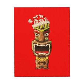 Hawaiian Christmas Santa Tiki Wood Print