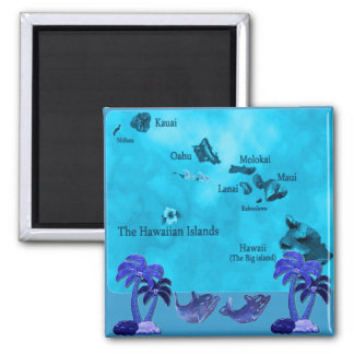 Hawaiian Coconut trees magnet 2 Inch Square Magnet