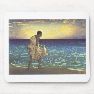 Hawaiian Fisherman, woodblock print Mouse Pad
