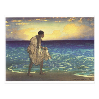 Hawaiian Fisherman, woodblock print Postcard