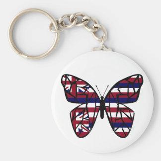 Hawaiian flag butterfly key chain