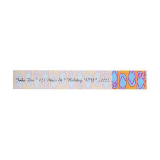 Hawaiian Flip Flops in Blue & Orange Wraparound Address Label