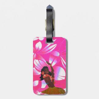 Hawaiian Floral Print with Hula Girl Luggage Tag