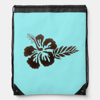 Hawaiian Flower Draw String Backpack
