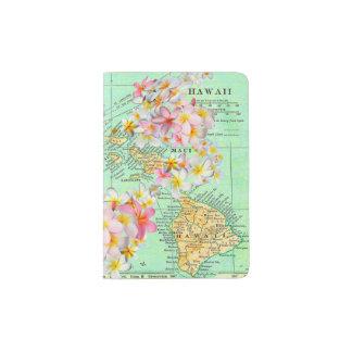 Hawaiian Flower Map Passport Holder