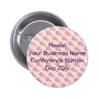 Hawaiian flower pink and purple 6 cm round badge
