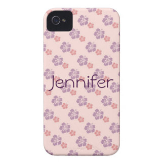 Hawaiian flower pink and purple Case-Mate iPhone 4 cases