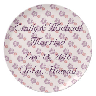Hawaiian flower pink and purple party plates