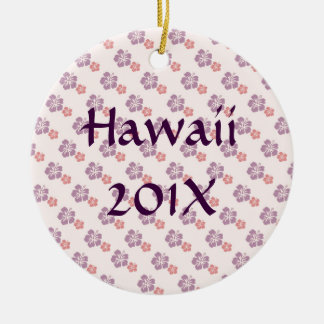 Hawaiian flower pink and purple round ceramic decoration
