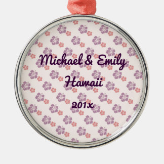 Hawaiian flower pink and purple Silver-Colored round decoration