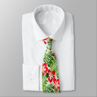 Hawaiian Flowered Pattern Red Green Tie
