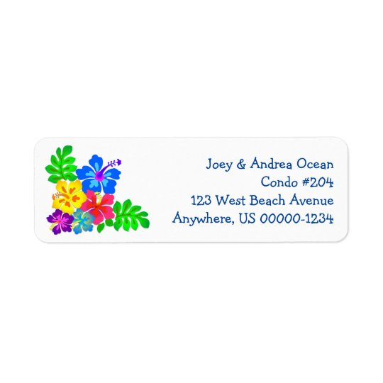 Hawaiian Flowers Four Lines Blue Text Return Address Label